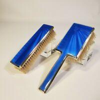 1936 MAPPIN & WEBB Art Deco Sterling Silver Blue Guilloche enamel set BIRMINGHAM