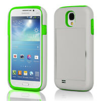 Credit Card Hard Shell Stand Combo Case Cover For Samsung Galaxy S4 I9500 White