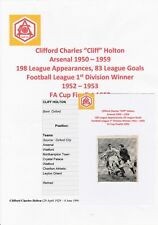 CLIFF HOLTON ARSENAL 1950-1959 RARE ORIGINAL HAND SIGNED MAGAZINE CUTTING