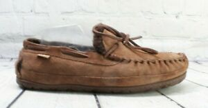 LL BEAN Men's Brown Suede Shearling Lined Wicked Good Moccasin Slippers Size 10