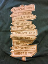 Fandoms Hogwarts,Rivendell, Tattoine, &more t-shirt , size large, new no tags
