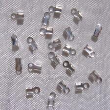 Lot 200 cache-noeuds 6mmx3mm pinces métal argenté pour fil cordons de 1-2mm *A37