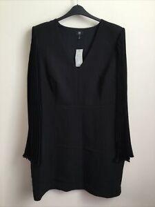 BNWT River Island Plus Black Pleated Cape Sleeved Mini Dress Size 20
