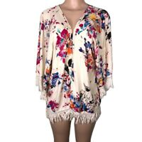 Umgee Kimono Cardigan Open Front Topper Fringe Floral Print Sz Medium Boho