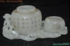 Chinese dynasty Hetian jade Hand carved word Tanks Crock tank pot canister jar