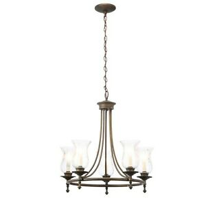 Hampton Bay Grace 5-Light Rubbed-Bronze Chandelier with Seeded Glass Shades