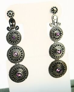 Suarti Bali Amethyst Granulated Disks Sterling Silver Indonesian Earrings 14.6g