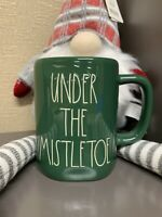 "Rae Dunn by Magenta L/L ""UNDER THE MISTLETOE"" Green Coffee Mug  2020 HTF Rare"