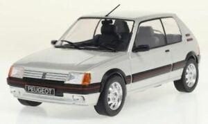 PEUGEOT 205 GTI diecast model road car Silver 1988 1:24th WHITE BOX 124063