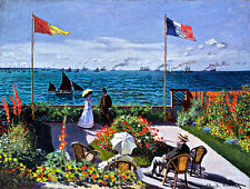 Garden at Sainte-Adresse A1+ by Claude Monet High Quality Canvas Print