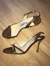 Jimmy Choo Brown Patent mid-heels Sandals - Size 37 UK 4