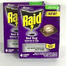 2 Pkgs Sc Johnson Raid Bed Bug Detector Trap Home Traveling Hotel 8 Count C17-21