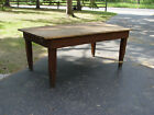 Red Pine Primitive Farmhouse Table | Rustic Harvest Table w/ Scrubbed top