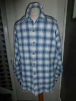 TED BAKER SIZE 4 BLUE/WHITE CHECK COTTON LONG SLEEVE SHIRT