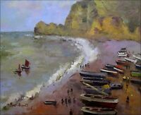 Hand Painted Oil Painting Repro Claude Monet The Beach at Etretat 20x24in