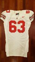 #63 White Game Worn Ohio State Buckeyes Football Jersey - Size 56 - Nike Team