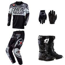 ONeal Element Warhawk Black motocross dirt bike - Jersey Pants Gloves Boots set