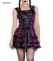 HELL BUNNY Club MINI DRESS HARLEY Tartan PURPLE Goth Punk All sizes