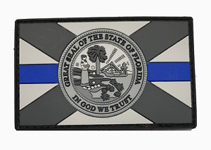 Subdued Thin Blue Line FLORIDA State Flag PVC Patch