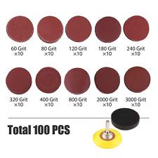 100 Pcs 2 Inch Sanding Discs Sandpaper Hook and Loop Backing Pad 60- 3000 Grit