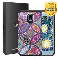 TJS For Samsung Galaxy J7 Star/Crown/V 2018 Design Cover Case+Tempered Glass