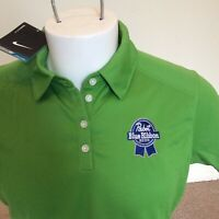 NWT nike golf Dri-fit womens golf polo shirt size Large pabst blue ribbon beer