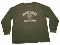 Solid Green John Deere L/S Waffle Knit Crew Neck Thermal Tee Shirt Men's Size XL