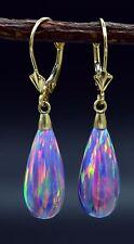 14K  Solid Yellow Gold Tear Drop Purple  Fire Opal Lever back Dangle Earrings