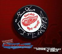 GORDIE HOWE, LINDSAY & ABEL Signed Red Wings Puck