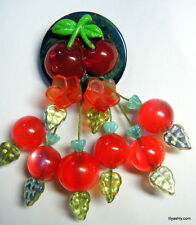 ARTIST RED Lucite & Resin Cherries BROOCH Green BAKELITE Poker CHIP NEW DESIGN