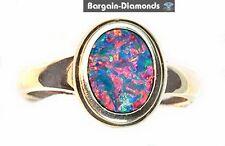 black opal 14K gold ring red blue green violet pink Australian opalo opala opale