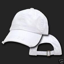 White Vintage Distressed Retro Low Profile Polo Baseball Cap Caps Dad Hat Hats