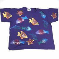 VTG OCEAN BEACH FISH ALL OVER PRINT ONE SIZE USA MADE PURPLE T SHIRT 3XL