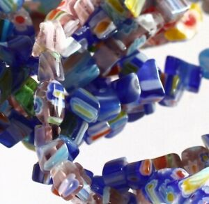 """Three 35"""" Strands Millefiori Glass Chip Beads with Small 3-5mm Chips"""