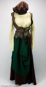 Renaissance Peasant Woman Pirate Wench Green Brown & Tan 4 Pc. Ladies Costume