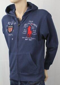 Children POLO Ralph Lauren Blue Full Zip Fleece Hoodie Sweatshirt Big Pony NWT