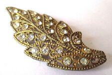 bijou broche ancienne feuille gravée en relief incrustée de cristaux diamant 507