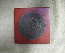 Monumental Brass Etching Celtic Circle Plaque on Wood Base Beautifully Engraved