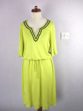 BODEN Size 12 Long Estelle Day Dress Embroidered Linen Blend Yellow Summer