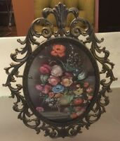 Vintage Made In Italy Floral Picture Metal Frame