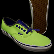 44db87029f5 VANS Authentic Skate Shoes Mens 9 Womens 10.5 Brite Neon Green Blue SNEAKERS