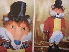 "FOX HUNTING~21"" (53cm)~SUZETTE GLASTONBURY RUGOLO cloth art animal doll pattern"
