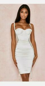 House Of CB Ivory Satin Corset Style Bustier Dress W/Mesh Lace Up Sides, Sz Med.