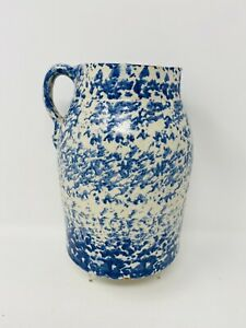 UNUSUAL STYLE HAND THROWN BLUE AND WHITE SPONGEWARE PITCHER