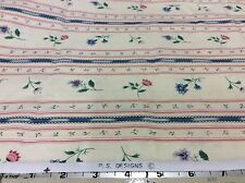 BLUE & PINK FLOWERS IN A STRIPE BY PS DESIGNS- COTTON- 1 1/2 YARDS