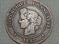 France Third Republic Copper 5 Centime 1897 A Ceres Laureate Head