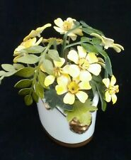 Vintage MCM Ted Arnold Enamel Painted Yellow Floral Bouquet Lion Planter 1960's