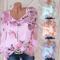 Fashion Women Floral Printed Button-Down Shirt Chiffon Summer Autumn Tops Blouse