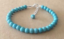 Plated, Beaded Friendship Bracelet Turquoise Howlite Beads, Silver