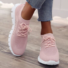 Women Autumn Glitter Slip On Sneakers Ladies Trainers Casual Pink Party Shoes sz